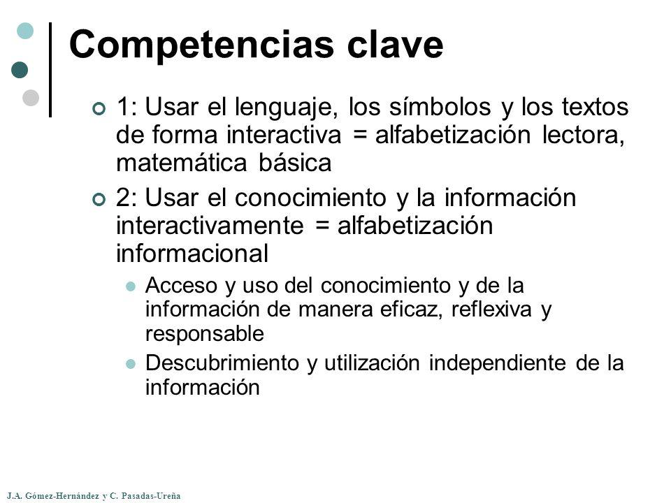 J.A. Gómez-Hernández y C. Pasadas-Ureña Competencias clave 1: Usar el lenguaje, los símbolos y los textos de forma interactiva = alfabetización lector