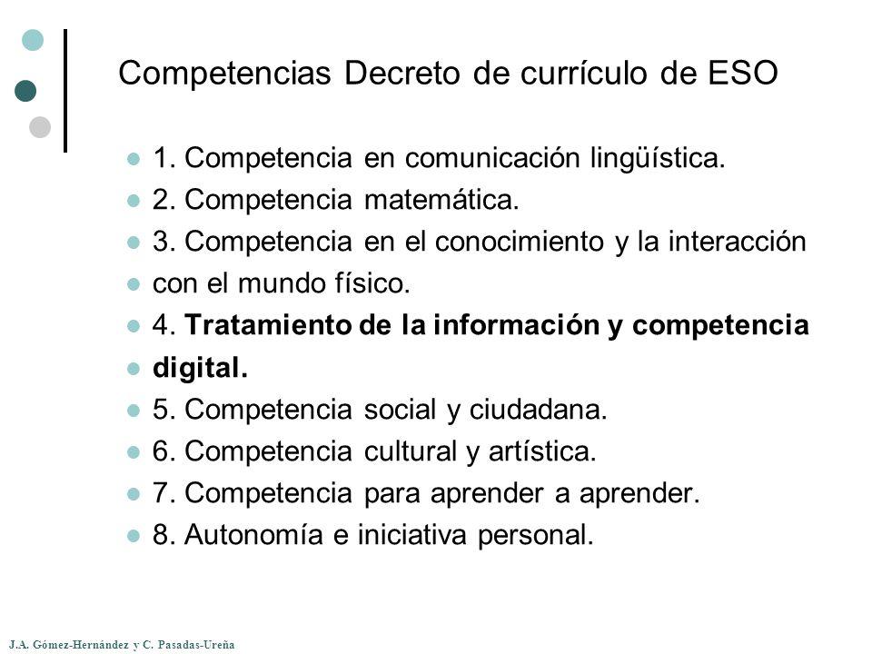 J.A. Gómez-Hernández y C. Pasadas-Ureña Competencias Decreto de currículo de ESO 1. Competencia en comunicación lingüística. 2. Competencia matemática