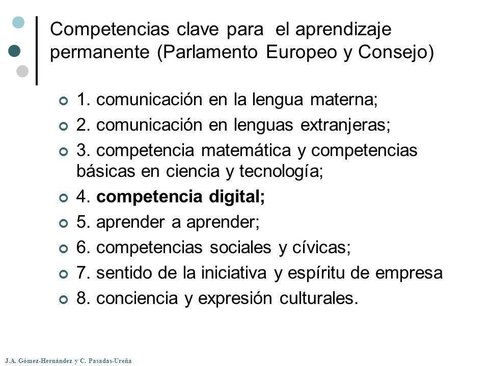 J.A. Gómez-Hernández y C. Pasadas-Ureña Competencias clave para el aprendizaje permanente (Parlamento Europeo y Consejo) 1. comunicación en la lengua