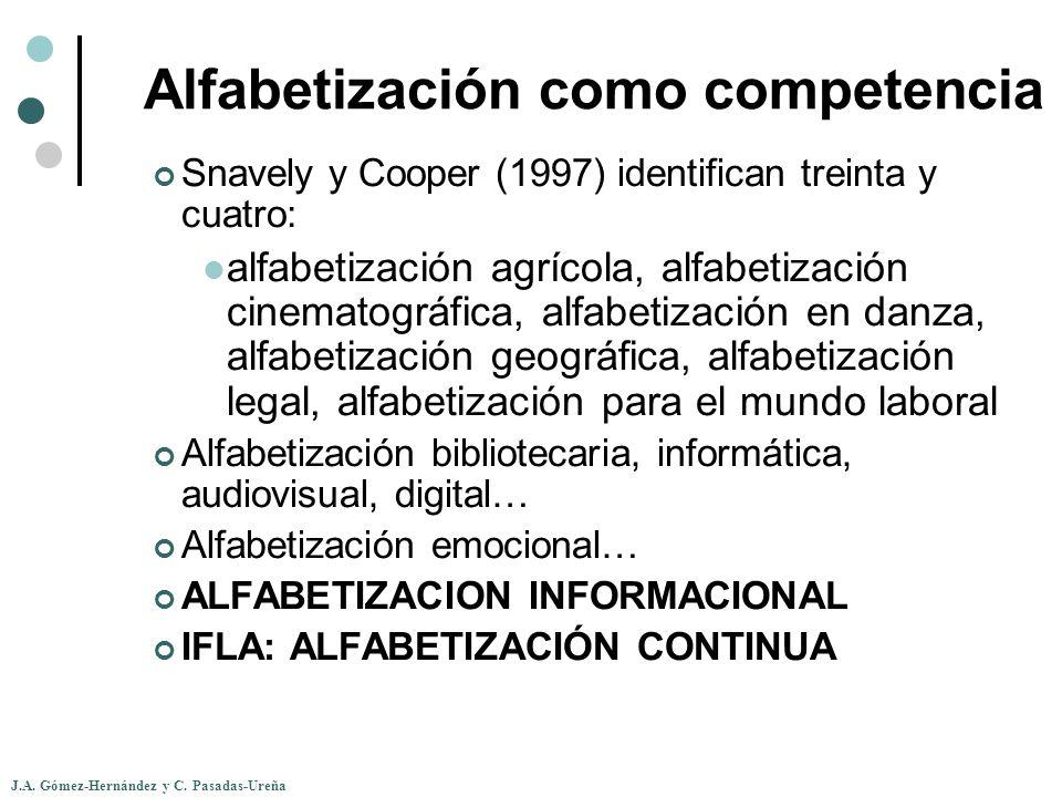 J.A. Gómez-Hernández y C. Pasadas-Ureña Alfabetización como competencia Snavely y Cooper (1997) identifican treinta y cuatro: alfabetización agrícola,