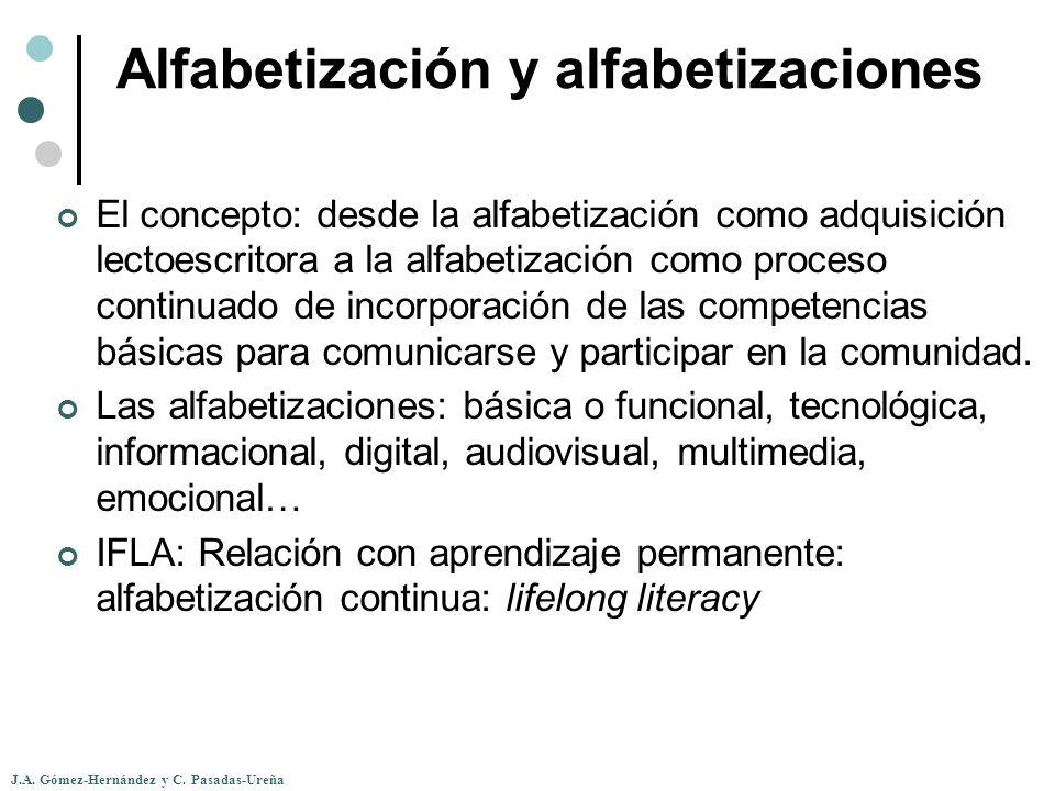 J.A. Gómez-Hernández y C. Pasadas-Ureña Alfabetización y alfabetizaciones El concepto: desde la alfabetización como adquisición lectoescritora a la al