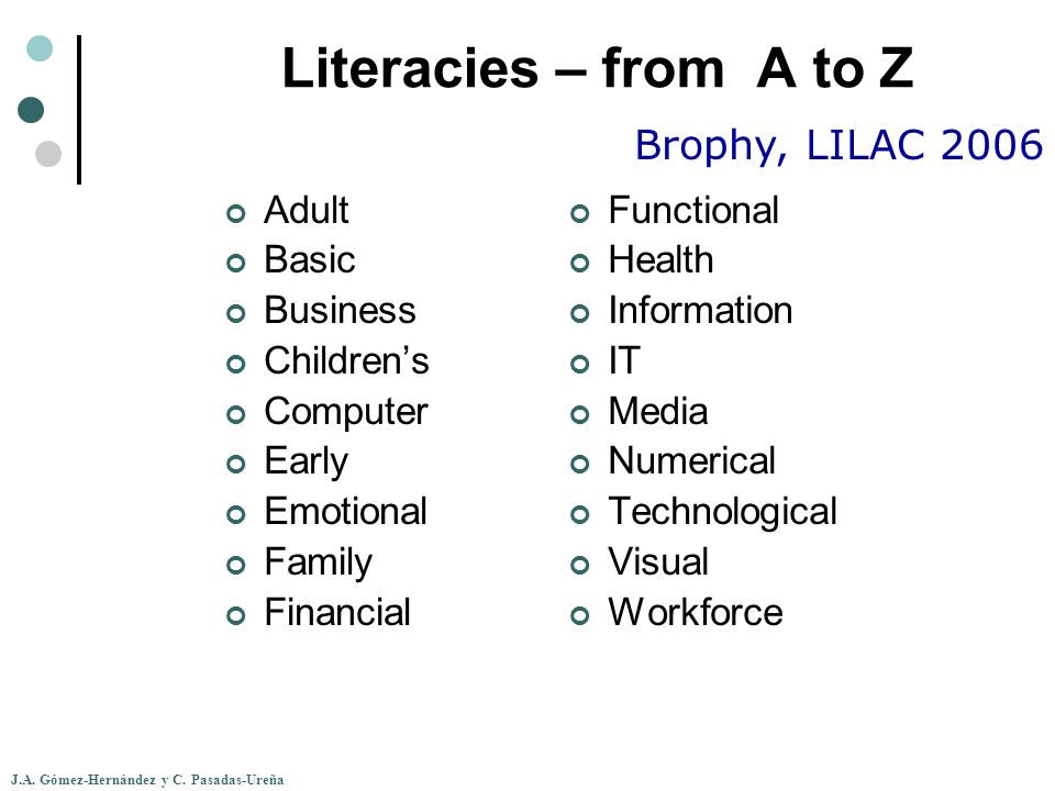 J.A. Gómez-Hernández y C. Pasadas-Ureña Literacies – from A to Z Adult Basic Business Childrens Computer Early Emotional Family Financial Functional H
