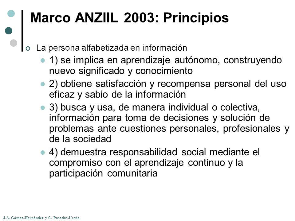 J.A. Gómez-Hernández y C. Pasadas-Ureña Marco ANZIIL 2003: Principios La persona alfabetizada en información 1) se implica en aprendizaje autónomo, co