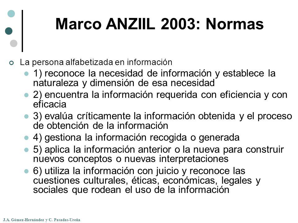 J.A. Gómez-Hernández y C. Pasadas-Ureña Marco ANZIIL 2003: Normas La persona alfabetizada en información 1) reconoce la necesidad de información y est
