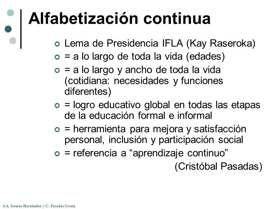J.A. Gómez-Hernández y C. Pasadas-Ureña Alfabetización continua Lema de Presidencia IFLA (Kay Raseroka) = a lo largo de toda la vida (edades) = a lo l