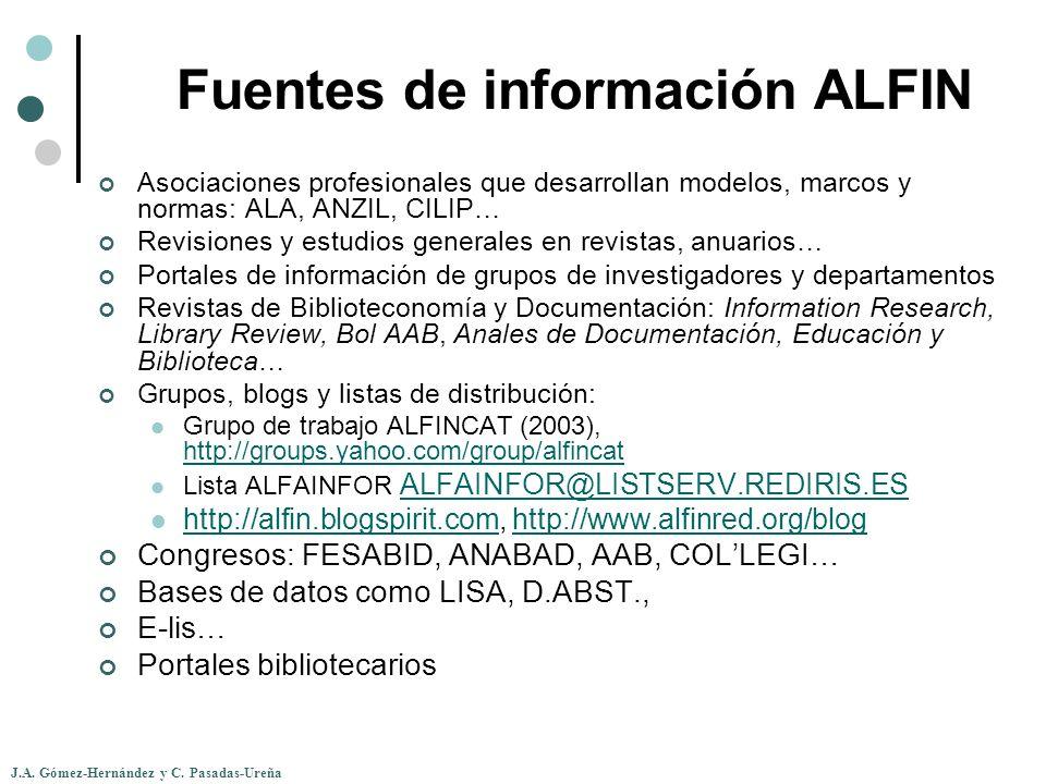 J.A. Gómez-Hernández y C. Pasadas-Ureña Fuentes de información ALFIN Asociaciones profesionales que desarrollan modelos, marcos y normas: ALA, ANZIL,