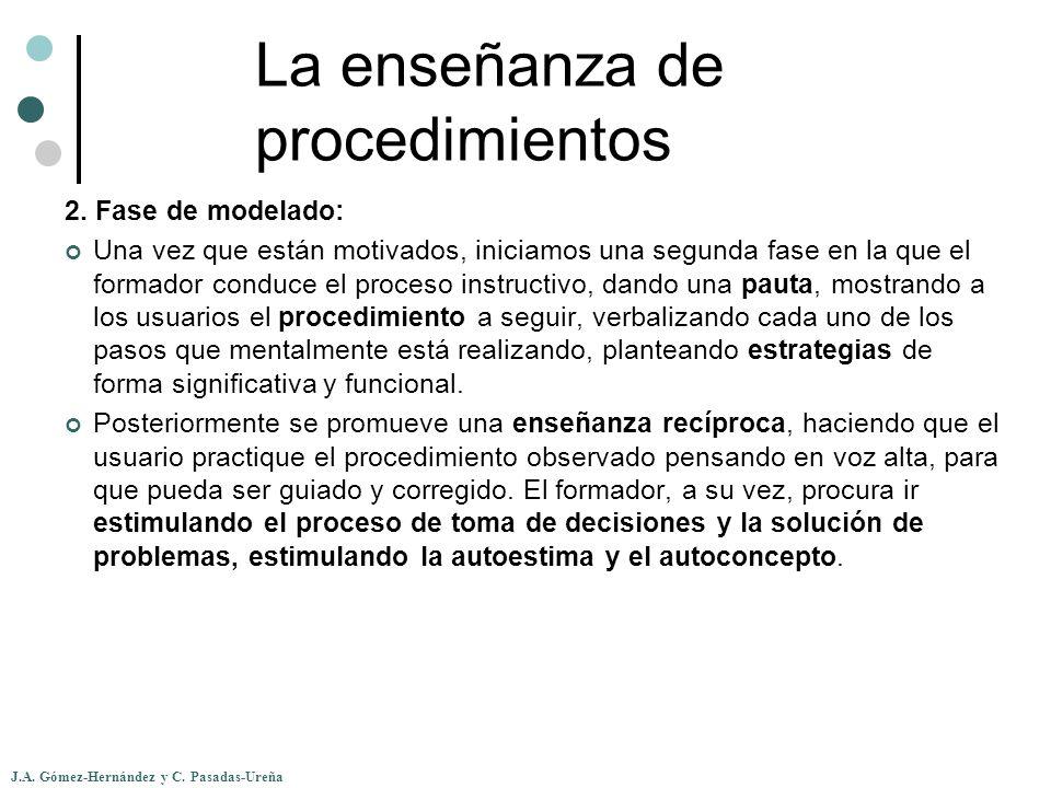 J.A. Gómez-Hernández y C. Pasadas-Ureña La enseñanza de procedimientos 2. Fase de modelado: Una vez que están motivados, iniciamos una segunda fase en