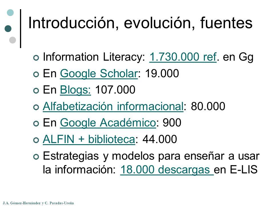 J.A. Gómez-Hernández y C. Pasadas-Ureña Introducción, evolución, fuentes Information Literacy: 1.730.000 ref. en Gg1.730.000 ref En Google Scholar: 19