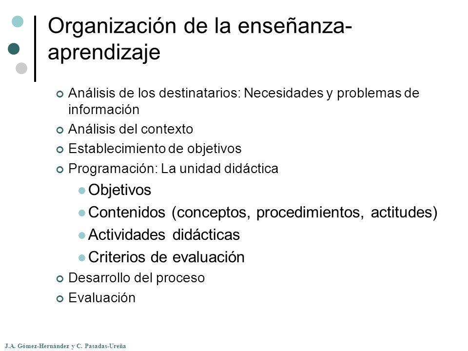 J.A. Gómez-Hernández y C. Pasadas-Ureña Organización de la enseñanza- aprendizaje Análisis de los destinatarios: Necesidades y problemas de informació