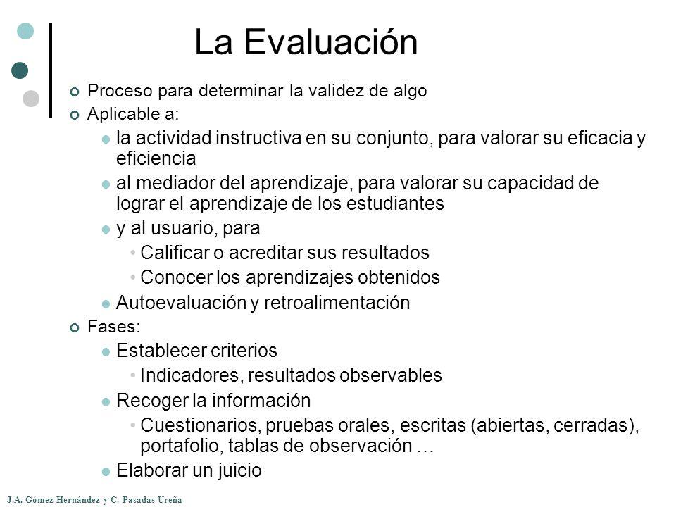 J.A. Gómez-Hernández y C. Pasadas-Ureña La Evaluación Proceso para determinar la validez de algo Aplicable a: la actividad instructiva en su conjunto,