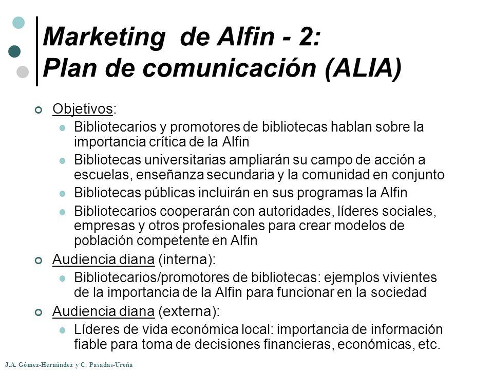 J.A. Gómez-Hernández y C. Pasadas-Ureña Marketing de Alfin - 2: Plan de comunicación (ALIA) Objetivos: Bibliotecarios y promotores de bibliotecas habl