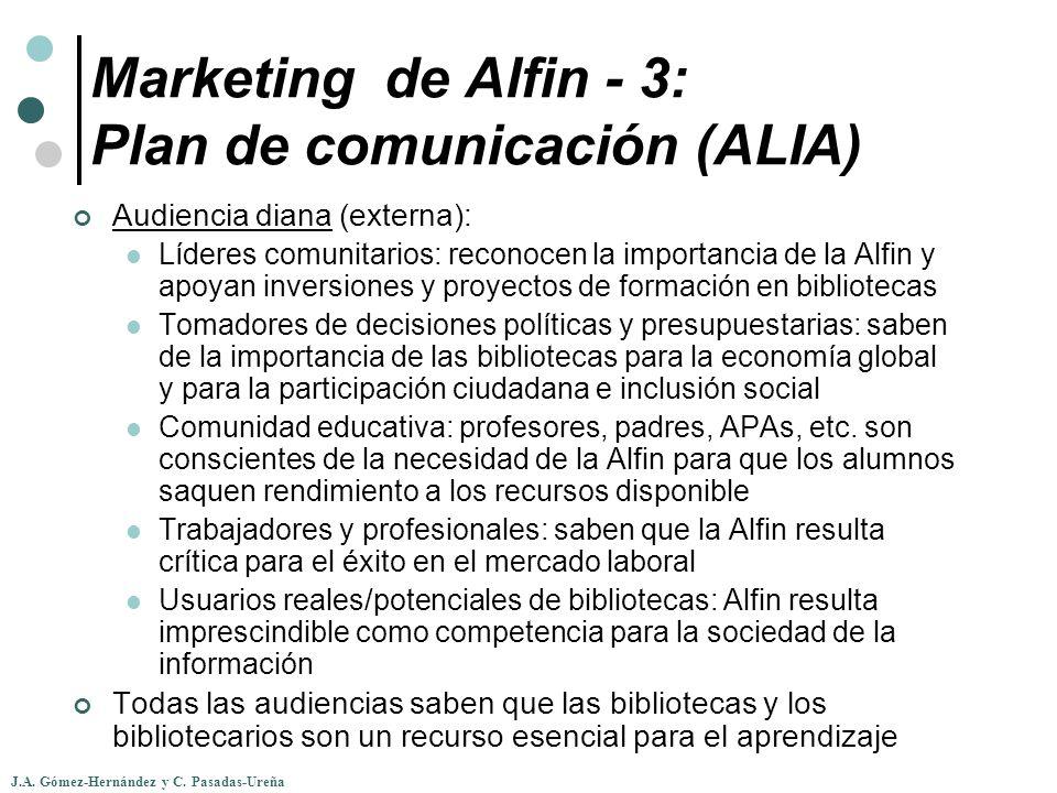 J.A. Gómez-Hernández y C. Pasadas-Ureña Marketing de Alfin - 3: Plan de comunicación (ALIA) Audiencia diana (externa): Líderes comunitarios: reconocen