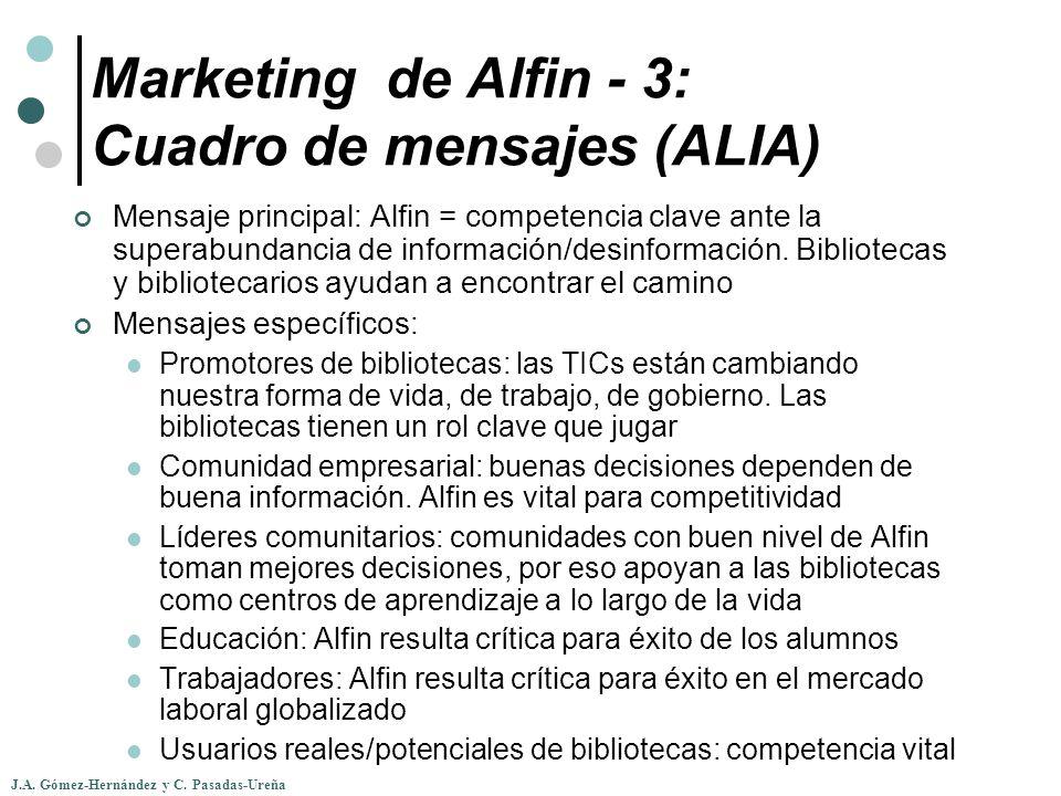 J.A. Gómez-Hernández y C. Pasadas-Ureña Marketing de Alfin - 3: Cuadro de mensajes (ALIA) Mensaje principal: Alfin = competencia clave ante la superab