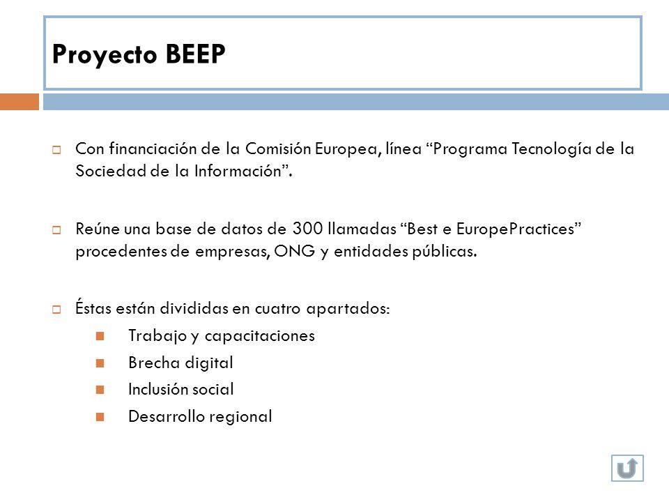 Proyecto BEEP Con financiación de la Comisión Europea, línea Programa Tecnología de la Sociedad de la Información. Reúne una base de datos de 300 llam