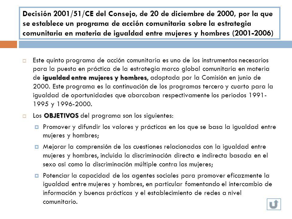 Decisión 2001/51/CE del Consejo, de 20 de diciembre de 2000, por la que se establece un programa de acción comunitaria sobre la estrategia comunitaria