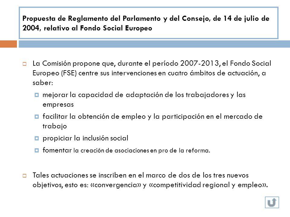 Propuesta de Reglamento del Parlamento y del Consejo, de 14 de julio de 2004, relativo al Fondo Social Europeo La Comisión propone que, durante el per