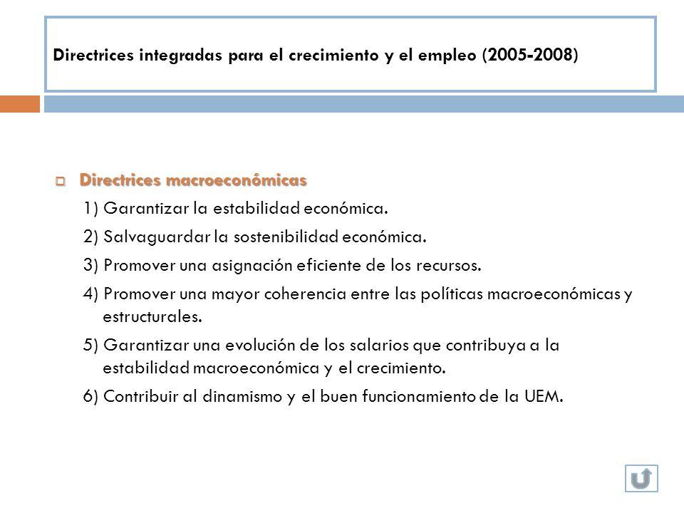 Directrices integradas para el crecimiento y el empleo (2005-2008) Directrices macroeconómicas Directrices macroeconómicas 1) Garantizar la estabilida