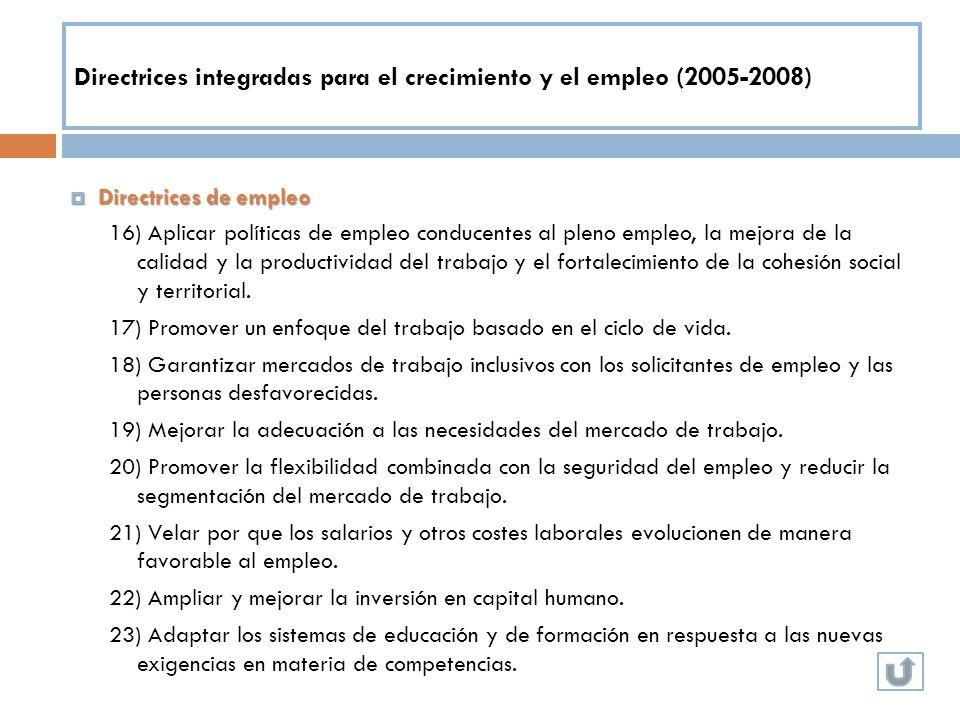 Directrices integradas para el crecimiento y el empleo (2005-2008) Directrices de empleo Directrices de empleo 16) Aplicar políticas de empleo conduce