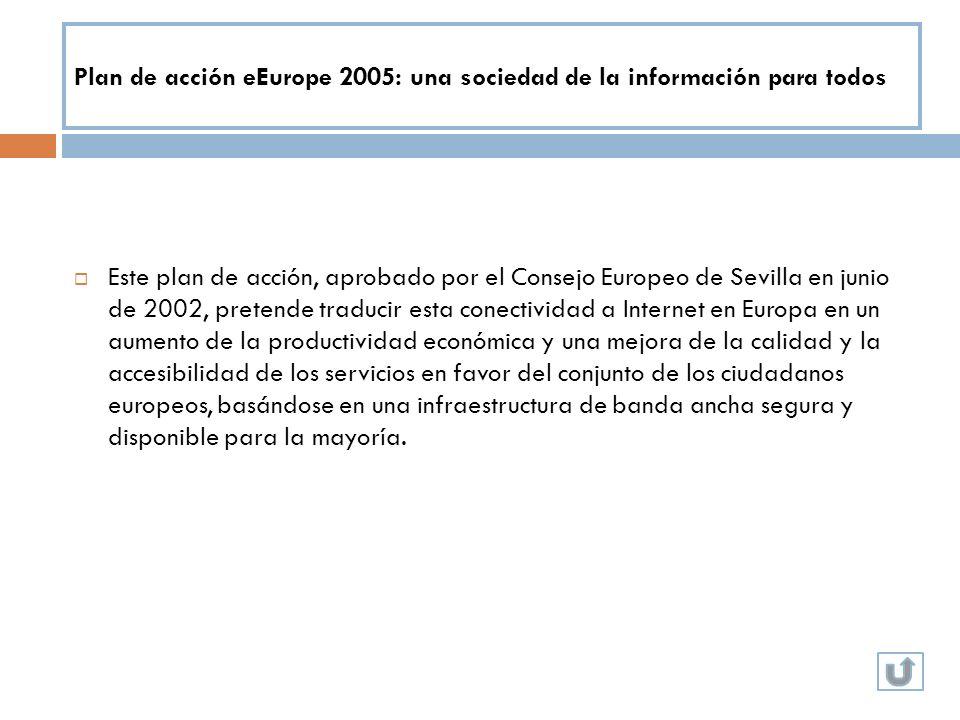 Plan de acción eEurope 2005: una sociedad de la información para todos Este plan de acción, aprobado por el Consejo Europeo de Sevilla en junio de 200