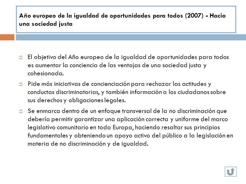 Año europeo de la igualdad de oportunidades para todos (2007) - Hacia una sociedad justa El objetivo del Año europeo de la igualdad de oportunidades p