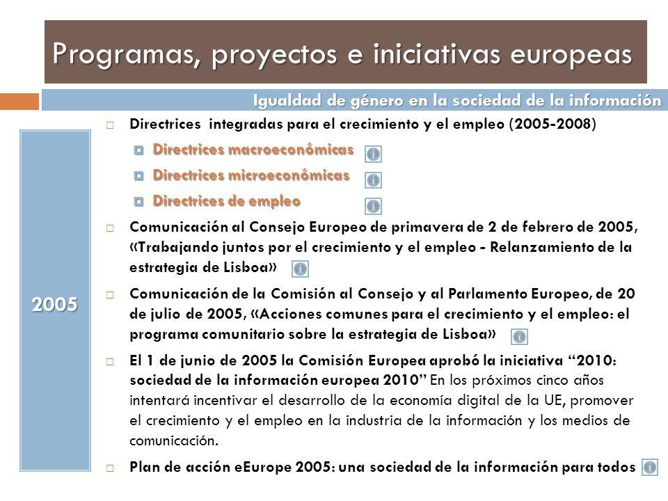 Programas, proyectos e iniciativas europeas Conclusiones de la Presidencia del Consejo Europeo de primavera de Bruselas de 23 y 24 de marzo de 2006 Documento Equal sobre la integración del principio de igualdad de género en los nuevos programas del FSE.