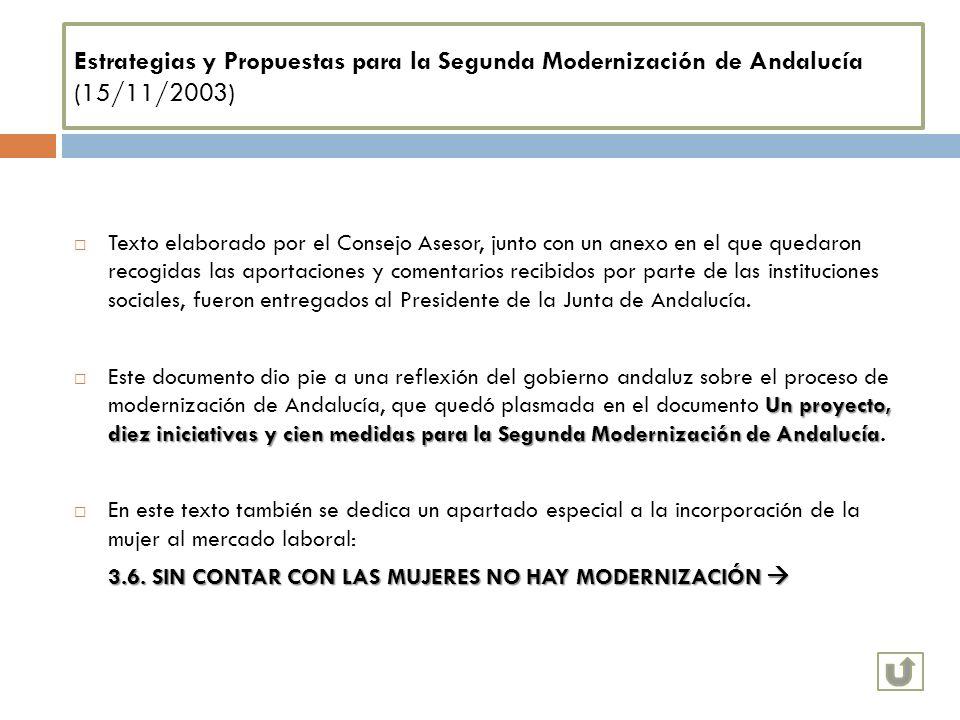 Estrategias y Propuestas para la Segunda Modernización de Andalucía (15/11/2003) Texto elaborado por el Consejo Asesor, junto con un anexo en el que q