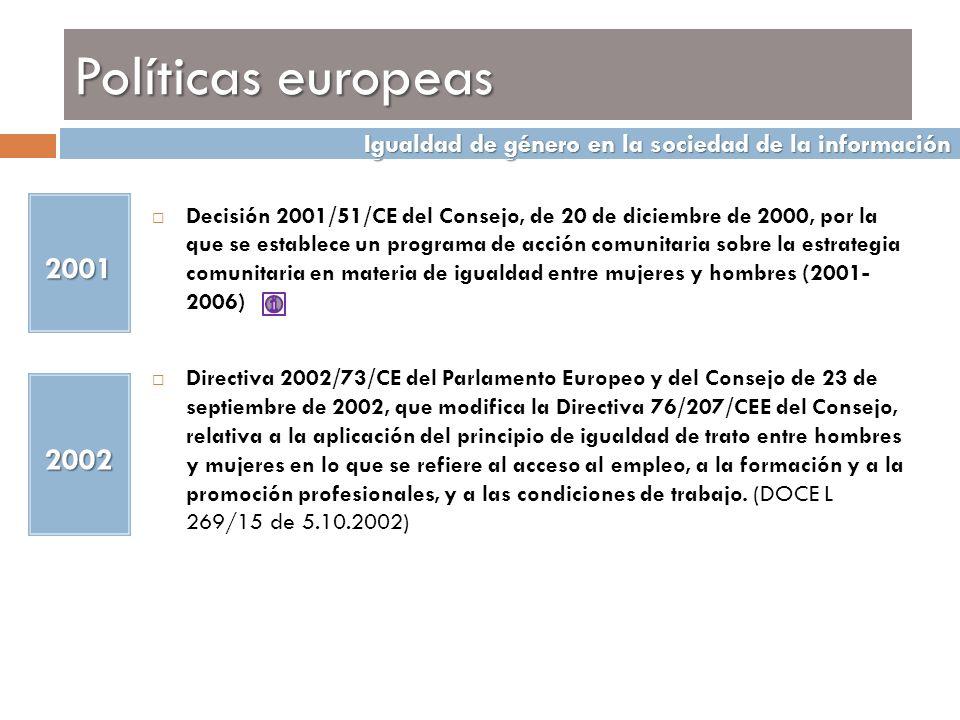 Políticas europeas 2001 Decisión 2001/51/CE del Consejo, de 20 de diciembre de 2000, por la que se establece un programa de acción comunitaria sobre l