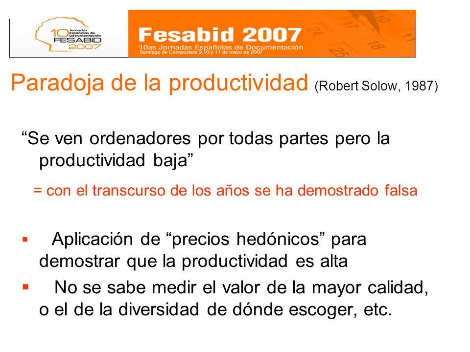 Paradoja de la productividad (Robert Solow, 1987) Se ven ordenadores por todas partes pero la productividad baja = con el transcurso de los años se ha demostrado falsa Aplicación de precios hedónicos para demostrar que la productividad es alta No se sabe medir el valor de la mayor calidad, o el de la diversidad de dónde escoger, etc.