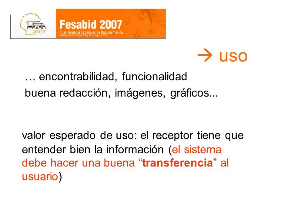 uso valor esperado de uso: el receptor tiene que entender bien la información (el sistema debe hacer una buena transferencia al usuario) … encontrabil
