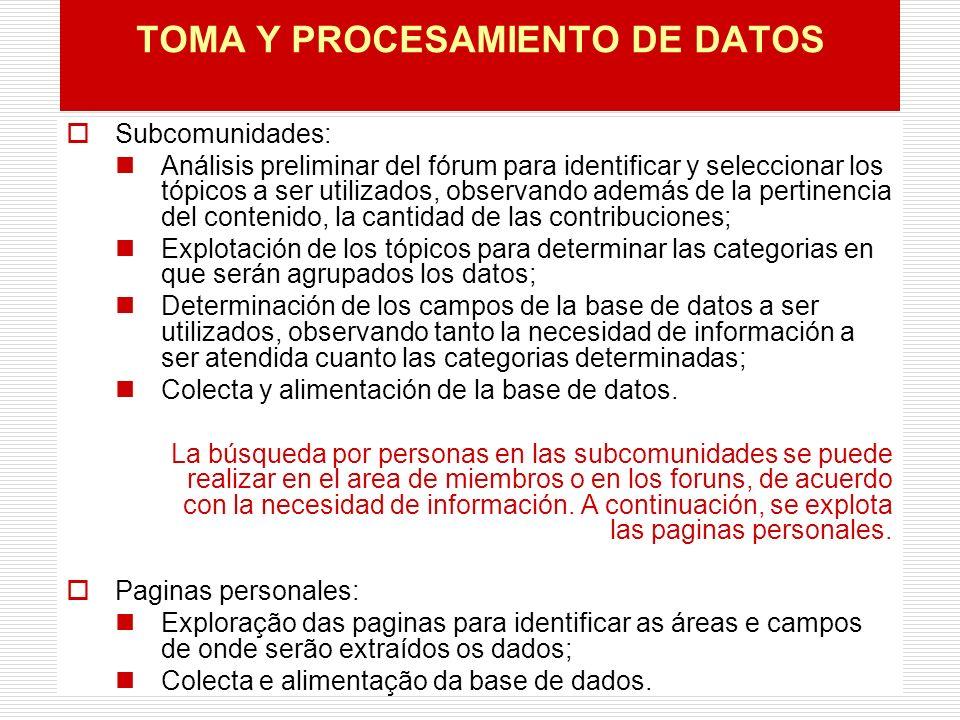 TOMA Y PROCESAMIENTO DE DATOS Subcomunidades: Análisis preliminar del fórum para identificar y seleccionar los tópicos a ser utilizados, observando además de la pertinencia del contenido, la cantidad de las contribuciones; Explotación de los tópicos para determinar las categorias en que serán agrupados los datos; Determinación de los campos de la base de datos a ser utilizados, observando tanto la necesidad de información a ser atendida cuanto las categorias determinadas; Colecta y alimentación de la base de datos.