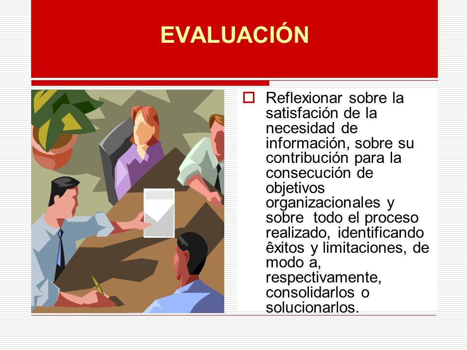 EVALUACIÓN Reflexionar sobre la satisfación de la necesidad de información, sobre su contribución para la consecución de objetivos organizacionales y sobre todo el proceso realizado, identificando êxitos y limitaciones, de modo a, respectivamente, consolidarlos o solucionarlos.