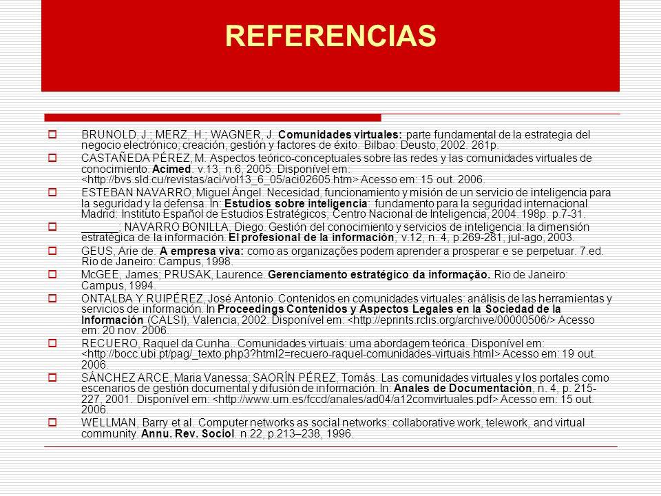REFERENCIAS BRUNOLD, J.; MERZ, H.; WAGNER, J.