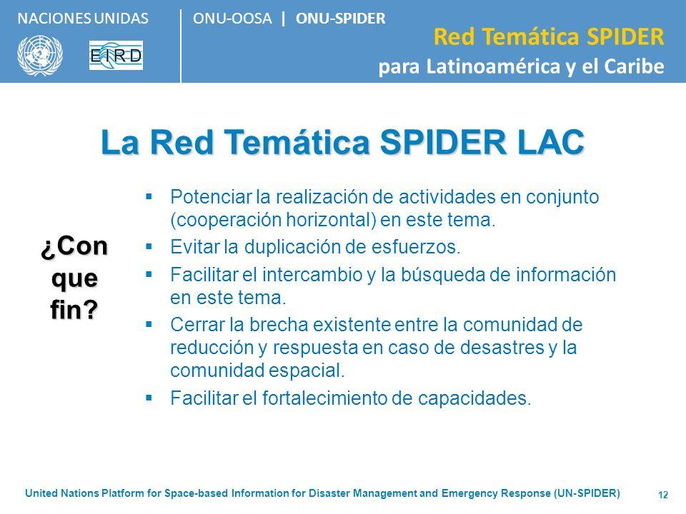 ONU-OOSA   ONU-SPIDER Red Temática SPIDER para Latinoamérica y el Caribe NACIONES UNIDAS United Nations Platform for Space-based Information for Disas