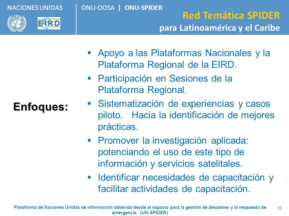ONU-OOSA   ONU-SPIDER Red Temática SPIDER para Latinoamérica y el Caribe NACIONES UNIDAS 13 Enfoques: Apoyo a las Plataformas Nacionales y la Platafor