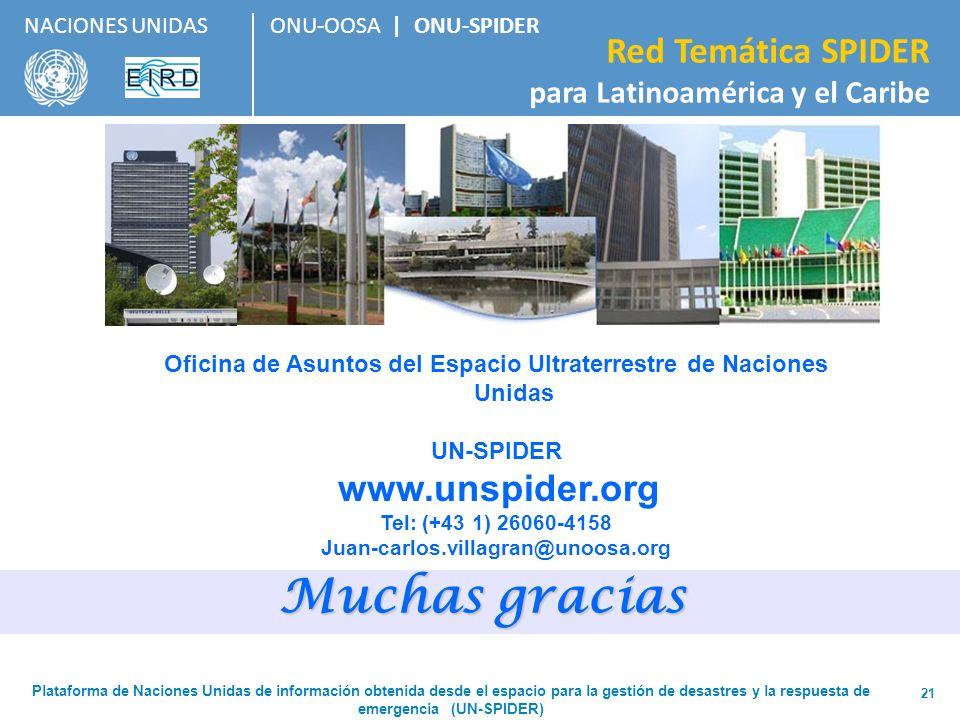 ONU-OOSA   ONU-SPIDER Red Temática SPIDER para Latinoamérica y el Caribe NACIONES UNIDAS 21 Oficina de Asuntos del Espacio Ultraterrestre de Naciones