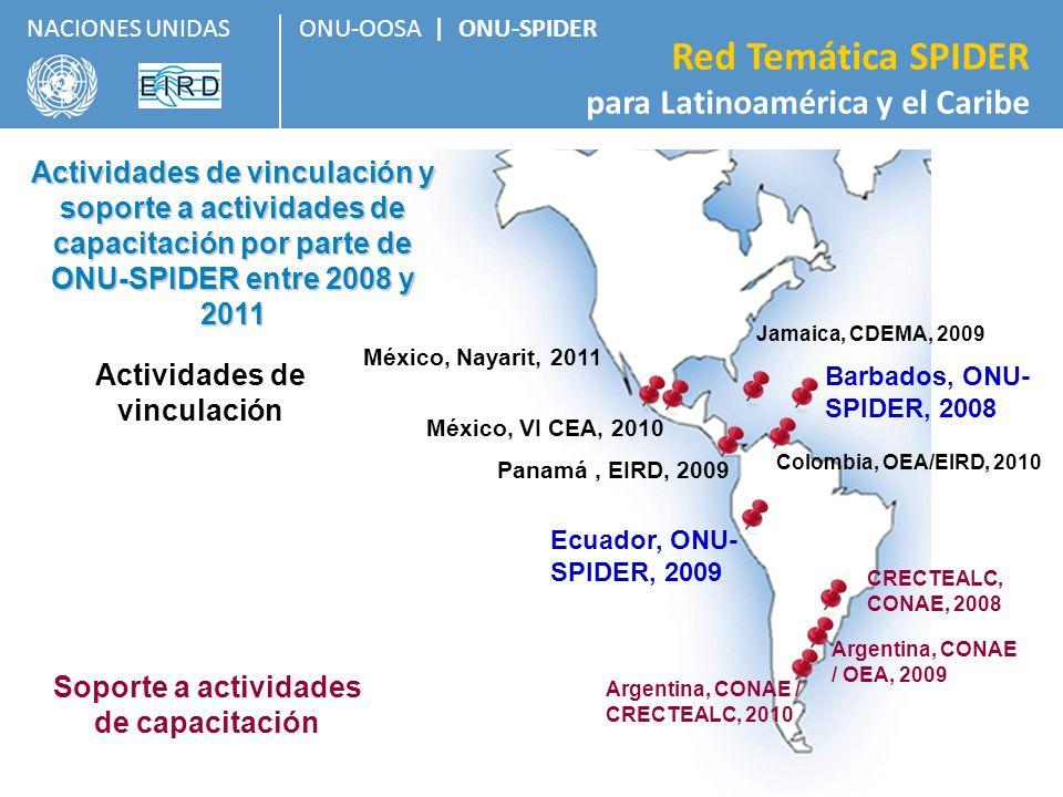 ONU-OOSA   ONU-SPIDER Red Temática SPIDER para Latinoamérica y el Caribe NACIONES UNIDAS Panamá, EIRD, 2009 Actividades de vinculación y soporte a act