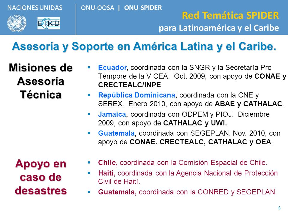 ONU-OOSA   ONU-SPIDER Red Temática SPIDER para Latinoamérica y el Caribe NACIONES UNIDAS 6 Misiones de Asesoría Técnica Ecuador, coordinada con la SNG