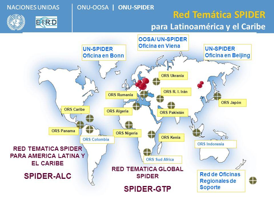 ONU-OOSA | ONU-SPIDER Red Temática SPIDER para Latinoamérica y el Caribe NACIONES UNIDAS 8 Dos Enfoques: Gestión para la Reducción del Riesgo Respuesta en caso de Desastres Plataforma Temática SPIDER A nivel global y a nivel regional.