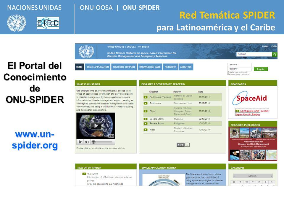 ONU-OOSA   ONU-SPIDER Red Temática SPIDER para Latinoamérica y el Caribe NACIONES UNIDAS El Portal del Conocimiento de ONU-SPIDER www.un- spider.org