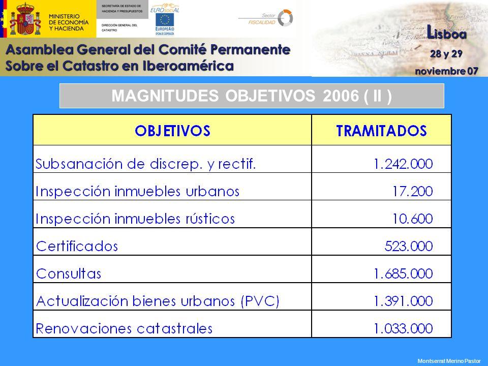 Asamblea General del Comité Permanente Sobre el Catastro en Iberoamérica L isboa 28 y 29 noviembre 07 Montserrat Merino Pastor MAGNITUDES OBJETIVOS 20