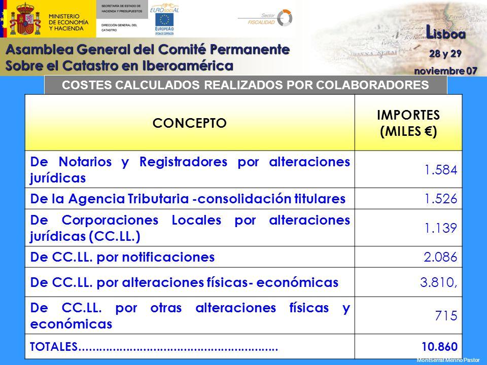Asamblea General del Comité Permanente Sobre el Catastro en Iberoamérica L isboa 28 y 29 noviembre 07 COSTES CALCULADOS REALIZADOS POR COLABORADORES C