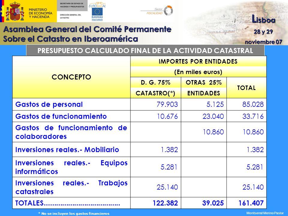 Asamblea General del Comité Permanente Sobre el Catastro en Iberoamérica L isboa 28 y 29 noviembre 07 Montserrat Merino Pastor PRESUPUESTO CALCULADO F