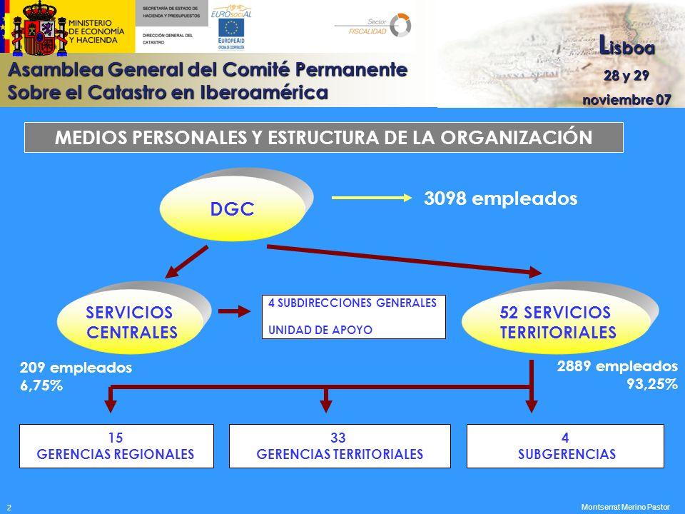 Asamblea General del Comité Permanente Sobre el Catastro en Iberoamérica L isboa 28 y 29 noviembre 07 EJECUCIÓN DEL PRESUPUESTO DEL AÑO 2006 TIPO DE GASTOS Miles de euros Gastos de personal79.903 Gastos de funcionamiento10.676 Gastos financieros807 Inversiones reales31.802 TOTAL..........................................123.188 Montserrat Merino Pastor