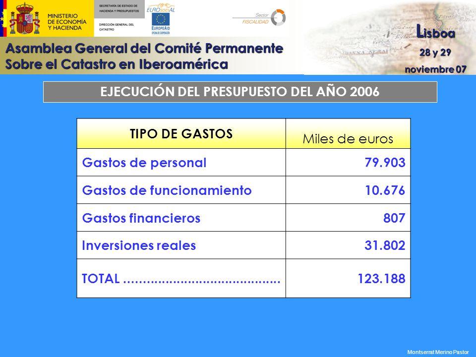 Asamblea General del Comité Permanente Sobre el Catastro en Iberoamérica L isboa 28 y 29 noviembre 07 EJECUCIÓN DEL PRESUPUESTO DEL AÑO 2006 TIPO DE G