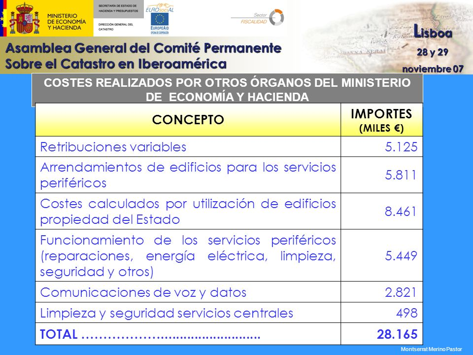 Asamblea General del Comité Permanente Sobre el Catastro en Iberoamérica L isboa 28 y 29 noviembre 07 COSTES REALIZADOS POR OTROS ÓRGANOS DEL MINISTER