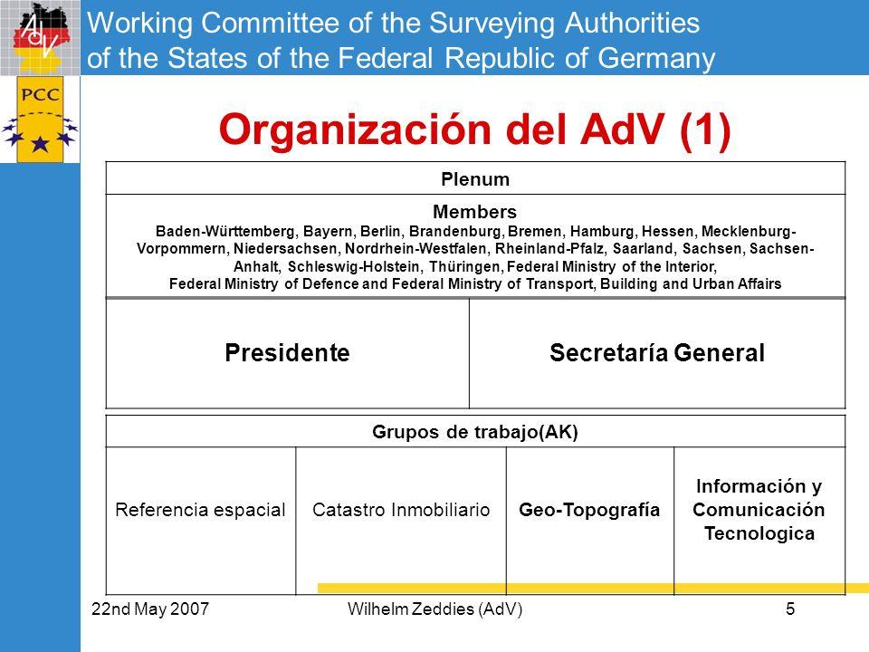 Working Committee of the Surveying Authorities of the States of the Federal Republic of Germany 22nd May 2007Wilhelm Zeddies (AdV)6 Organización del AdV (2) El Presidente del AdV is elegido por un periodo de 2 años.