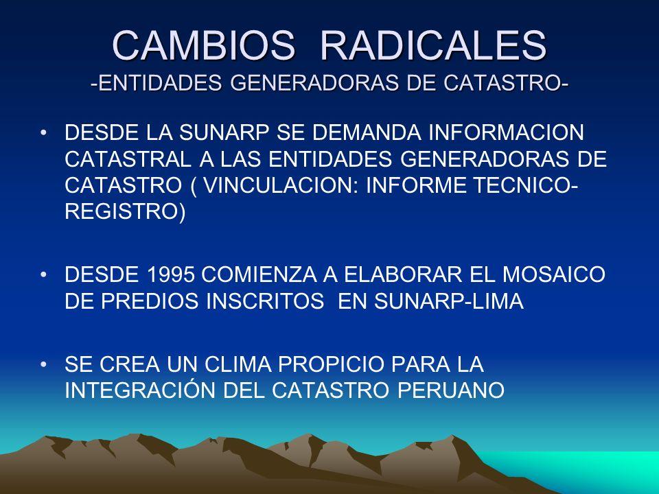 CAMBIOS RADICALES -ENTIDADES GENERADORAS DE CATASTRO- DESDE LA SUNARP SE DEMANDA INFORMACION CATASTRAL A LAS ENTIDADES GENERADORAS DE CATASTRO ( VINCU