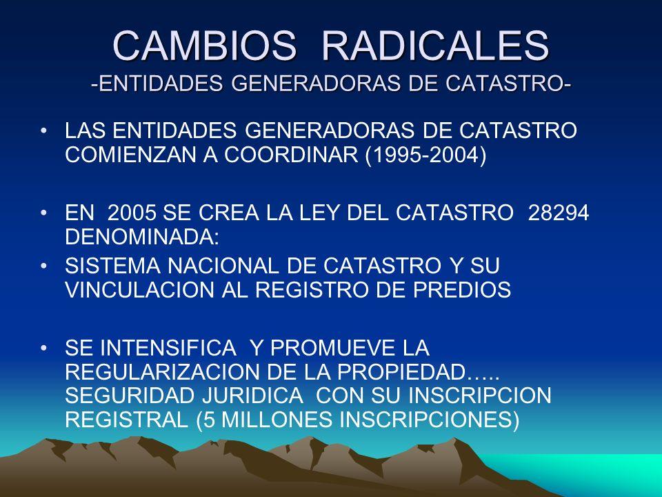 CAMBIOS RADICALES -ENTIDADES GENERADORAS DE CATASTRO- LAS ENTIDADES GENERADORAS DE CATASTRO COMIENZAN A COORDINAR (1995-2004) EN 2005 SE CREA LA LEY D