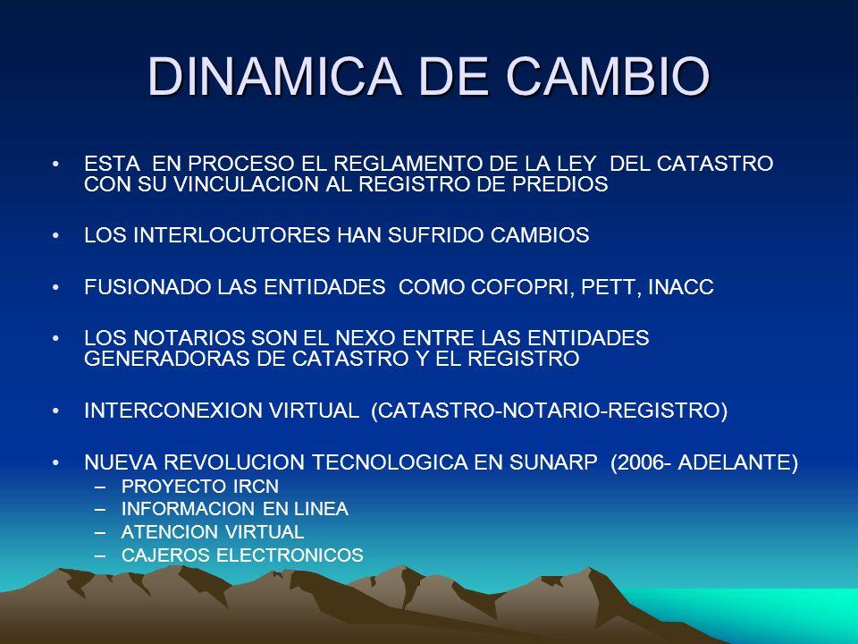 DINAMICA DE CAMBIO ESTA EN PROCESO EL REGLAMENTO DE LA LEY DEL CATASTRO CON SU VINCULACION AL REGISTRO DE PREDIOS LOS INTERLOCUTORES HAN SUFRIDO CAMBI