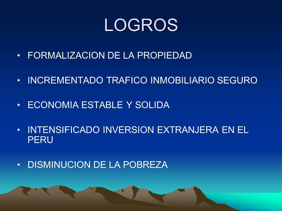 LOGROS FORMALIZACION DE LA PROPIEDAD INCREMENTADO TRAFICO INMOBILIARIO SEGURO ECONOMIA ESTABLE Y SOLIDA INTENSIFICADO INVERSION EXTRANJERA EN EL PERU
